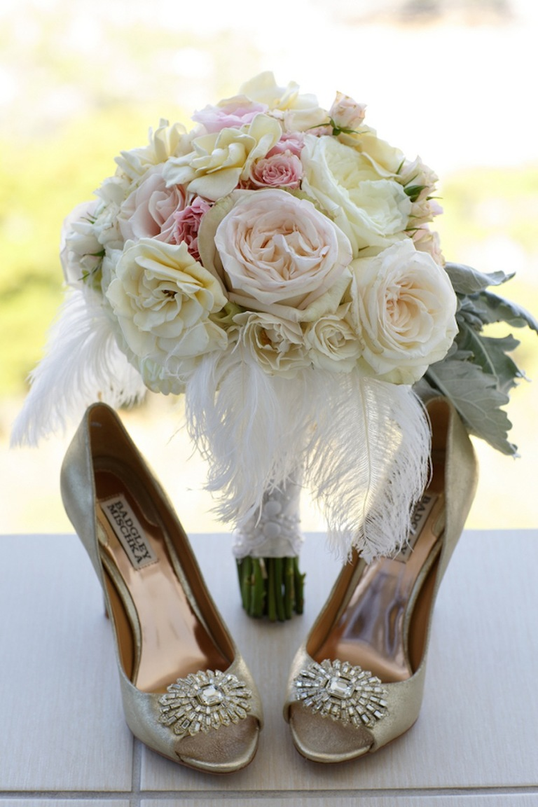 Romantic Pink and White 1920's Inspired Wedding Bouquet | Andrea Layne Floral Design | Badgley Mischka Wedding Shoes