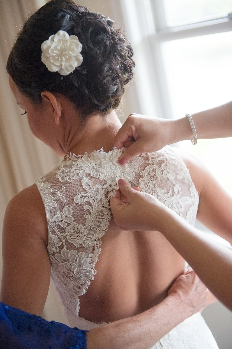Jim Hjelm Lace Wedding Dress with Open Back