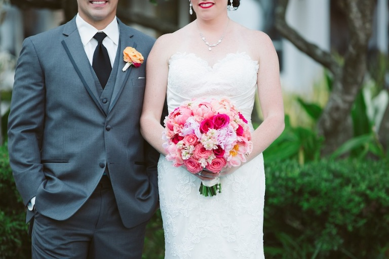 Pink and Coral Wedding Bouquet | Bride and Groom on Wedding Day