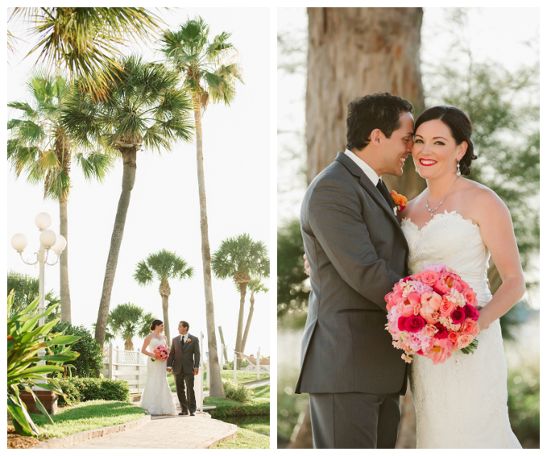 Pink and Coral Wedding Bouquet | Florida Beach Bride and Groom on Wedding Day