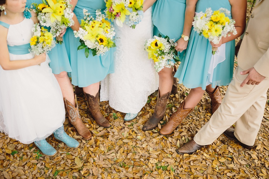 Teal Seafoam Green Blue Bridesmaids Dresses In Cowboy Boots