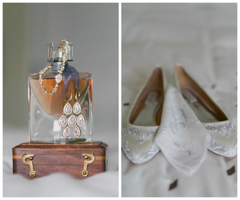 Bridal Jewelry and White Wedding Flats Shoes