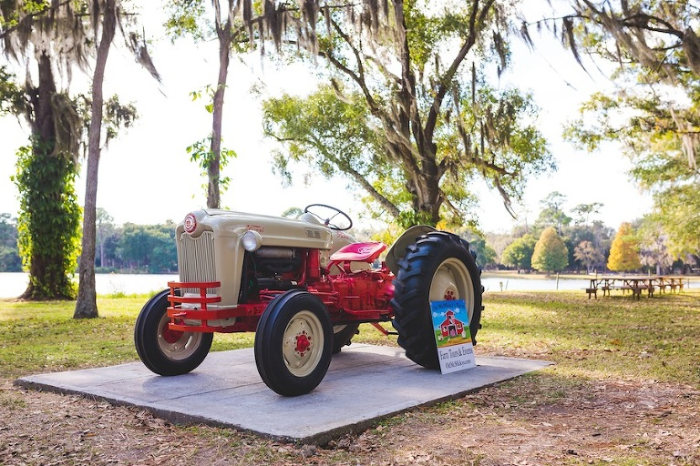 Tractor at Outdoor Rustic, Tampa Wedding Venue | The Barn Crescent Lake at Old McMickey's Farm