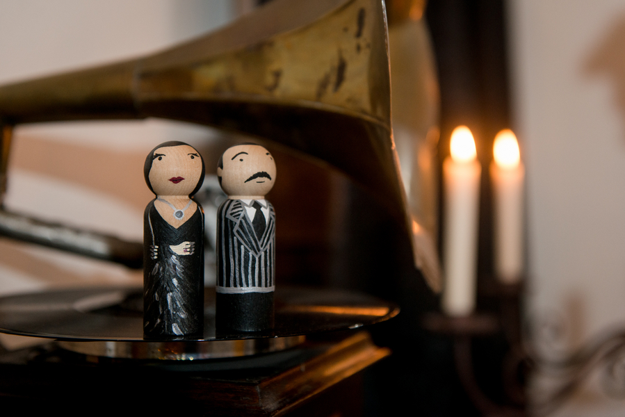 Halloween Inspired, Wooden Morticia and Gomez Cake Toppers   Tampa Wedding Photographer Marc Edwards Photographs