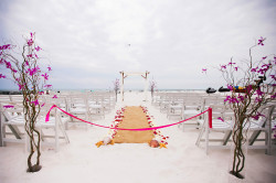 Beachfront, Waterfront Wedding Ceremony with Seashells and Starfish and Burlap Aisle Runner | Clearwater Wedding Venue Hilton Clearwater Beach