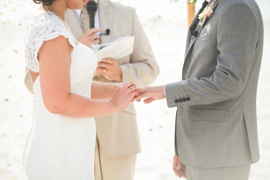 Clearwater Beach Wedding Ceremony | Bride and Groom Ring Exchange