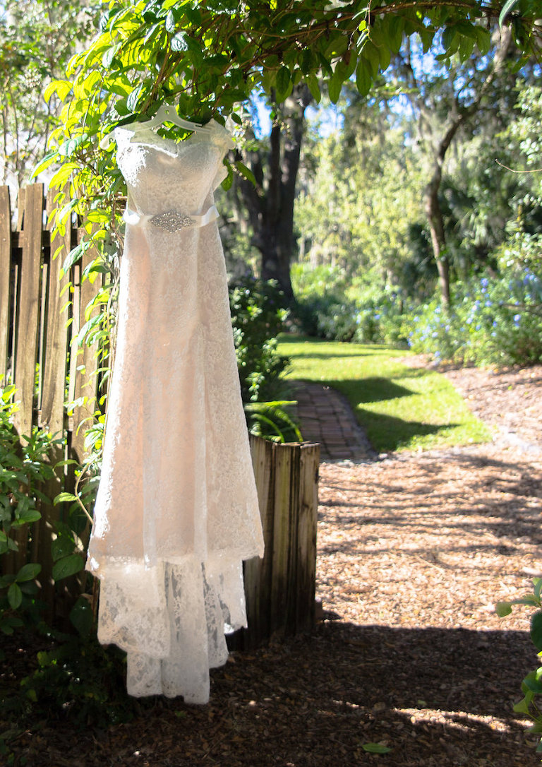 Venus Bridal Lace Wedding Dress With Rhinestone Belt | Rustic Tampa Bay Wedding