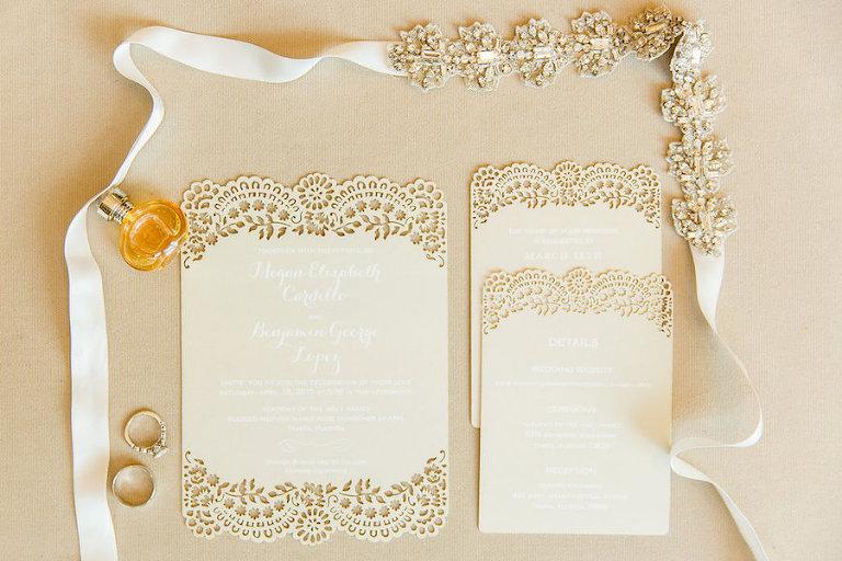 Cream, Off-White Lace Wedding Invitation and Rhinestone Crystal Wedding Belt Sash