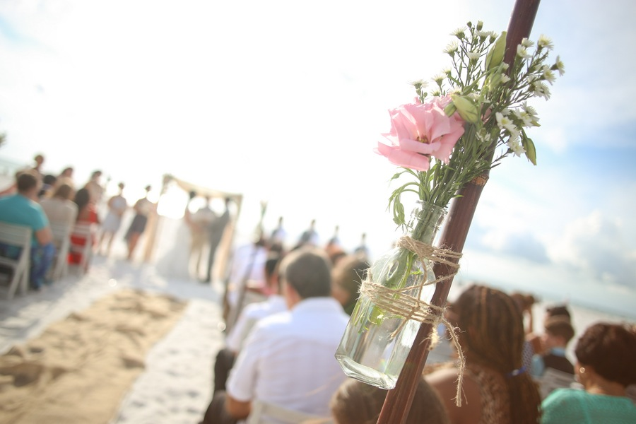 Hilton Clearwater Beach Wedding Ceremony | Pink Floral Aisle Decor on Bamboo Wooden Sticks