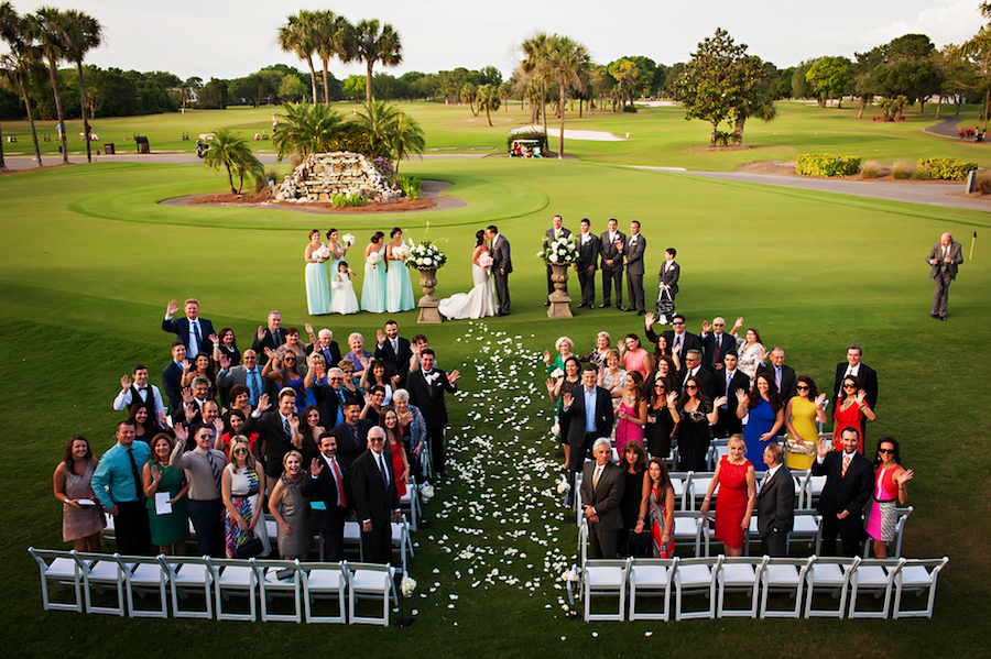 Wedding Guests Group Photo at Outdoor Golf Course Wedding Ceremony | Clearwater Wedding Venue Countryside Country Club