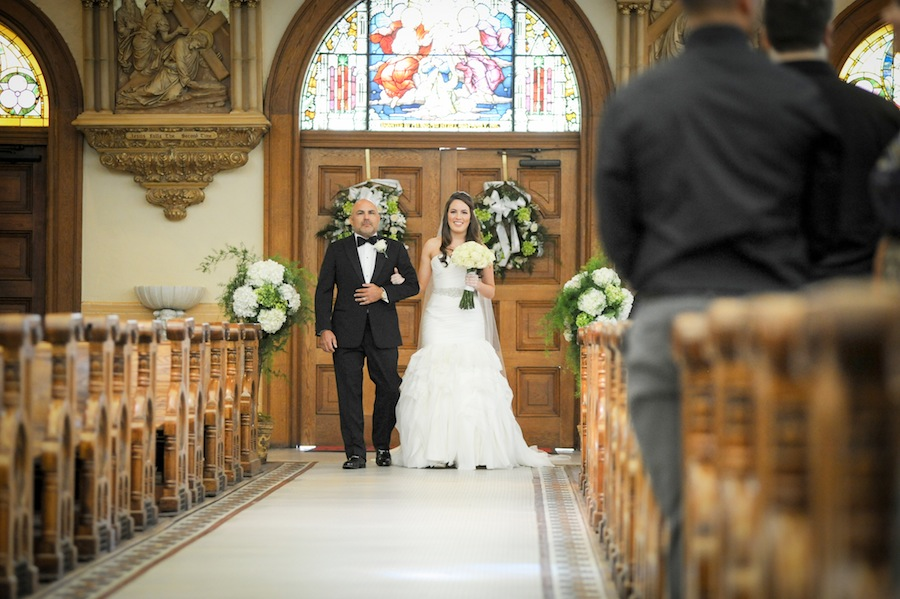 Bride Walking Down Aisle with Father | Downtown Tampa Wedding Ceremony | Sacred Heart Catholic Church