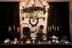 Dark, Halloween Inspired Cake and Dessert Table With Candelabras and White Flowers | Tampa Wedding Photographer Marc Edwards Photographs