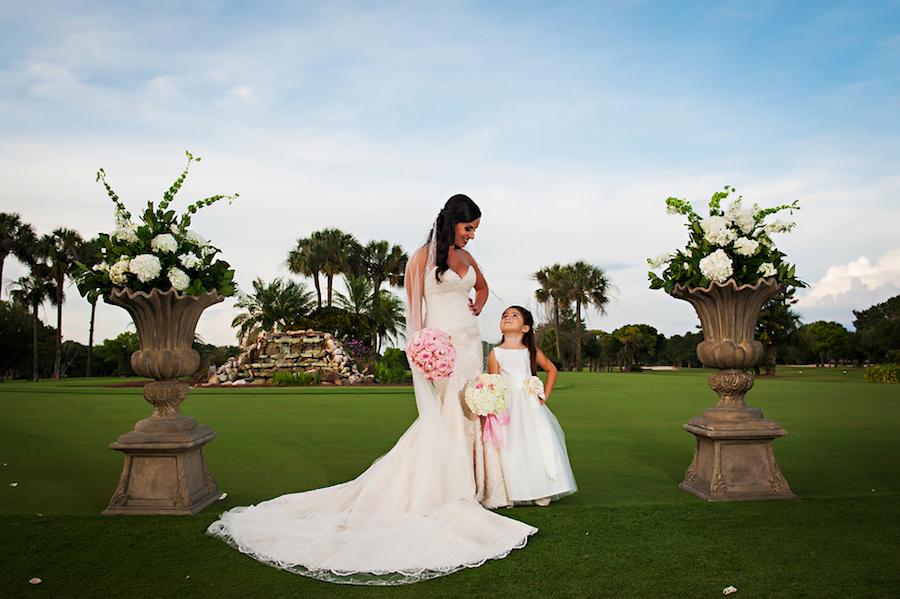 Outdoor Wedding Portrait with Bride and Flower Girl | Clearwater Wedding Venue Countryside Country Club
