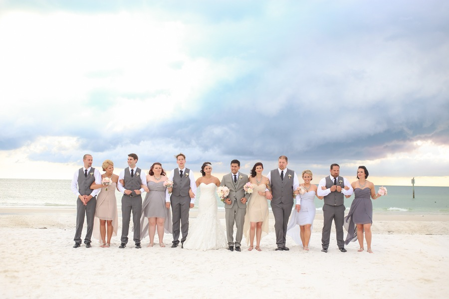 Tan and Purple Bridesmaid Dresses with Grey Groomsmen Suits | Clearwater Beach Bridal Party Portrait