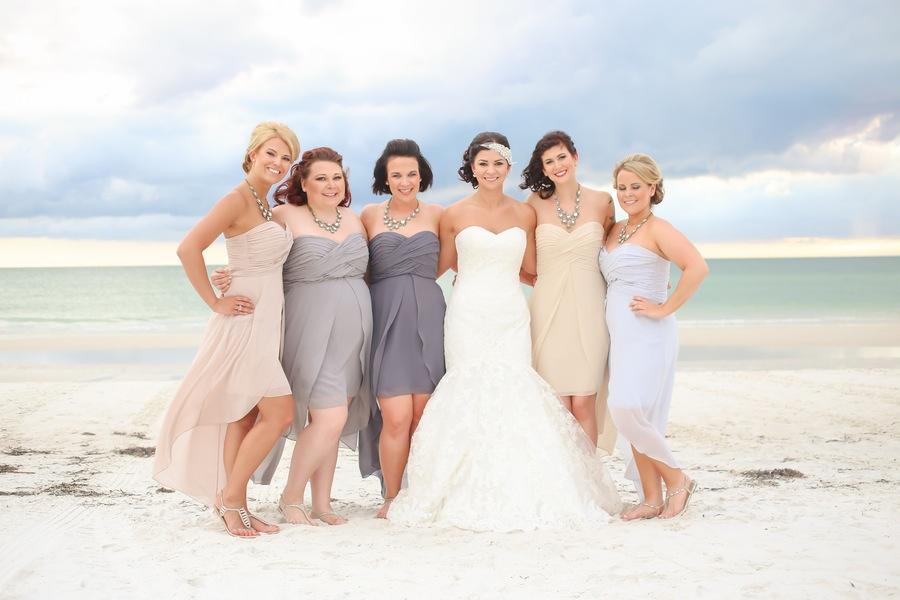 Tan and Purple Bridesmaid Dresses | Hilton Clearwater Beach Bridal Party Portrait
