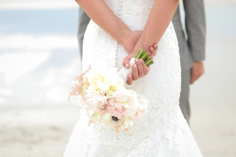 Pastel Pink and White Bride Wedding Bouquet White Lace Wedding Dress