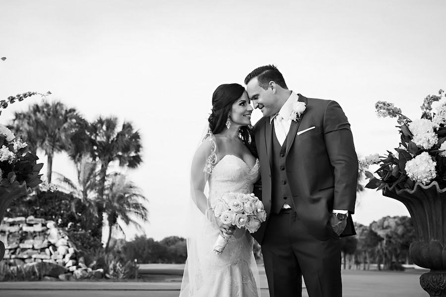 Black and White Outdoor Wedding Portrait with Bride and Groom | Clearwater Wedding Venue Countryside Country Club