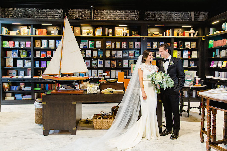 Indoor, Bride and Groom Wedding Portrait in Tampa Wedding Venue Oxford Exchange Library | Tampa Wedding Photographer Ailyn LaTorre Photography