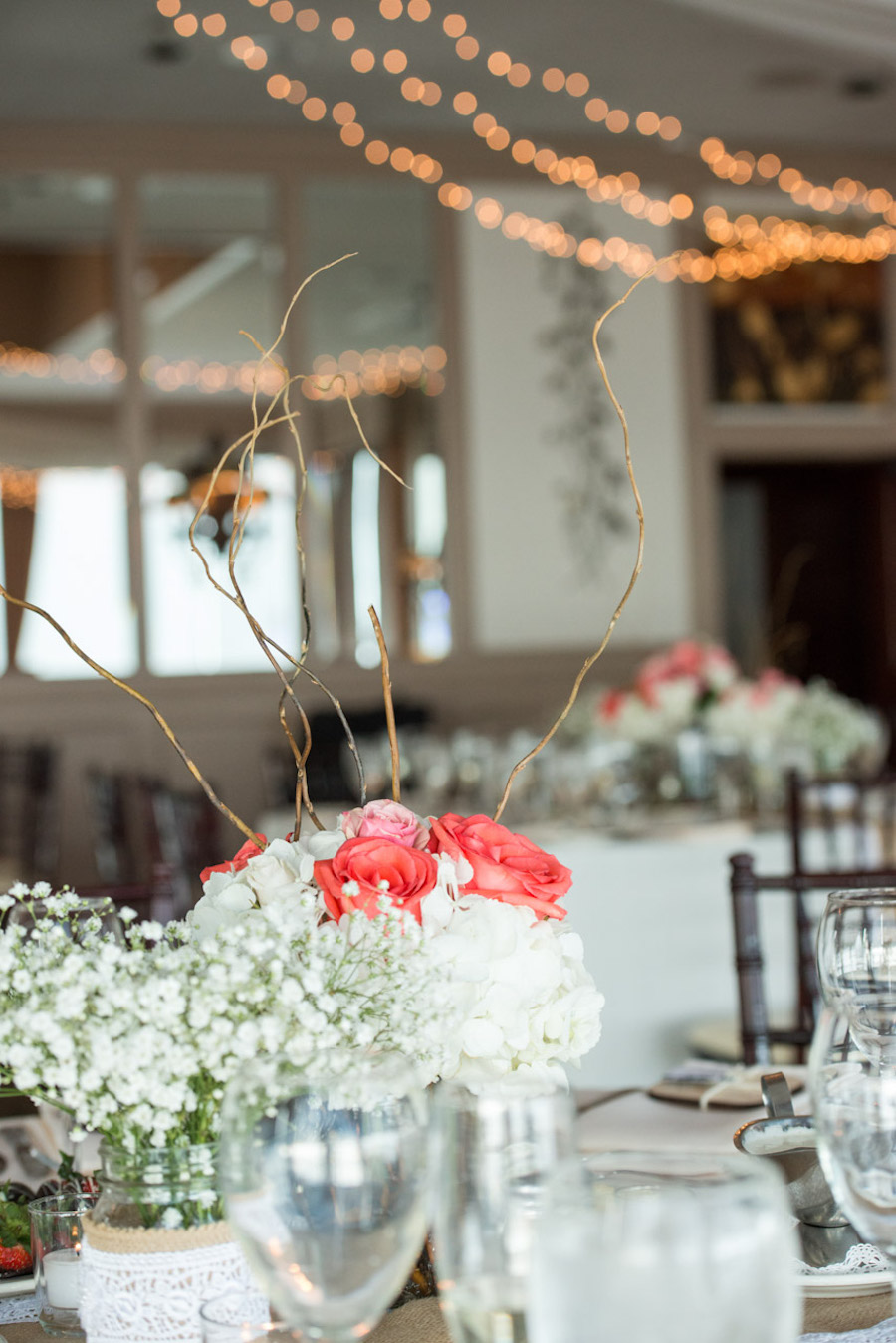 Wedding Reception Decor with White and Coral Rose