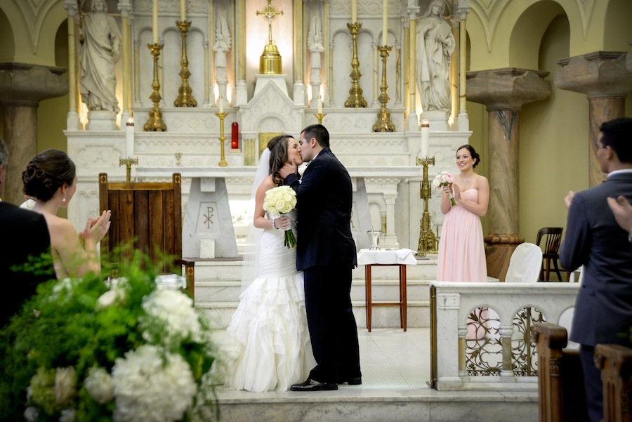 Bride and Groom First Kiss | Downtown Tampa Wedding Ceremony | Sacred Heart Catholic Church