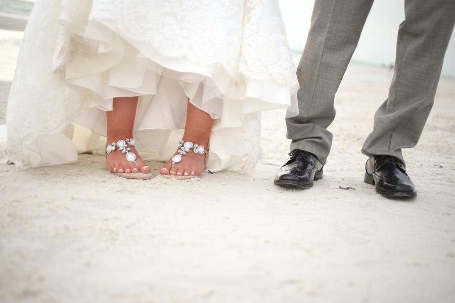 Hilton Clearwater Beach Bride and Groom Shooes Wedding Portrait