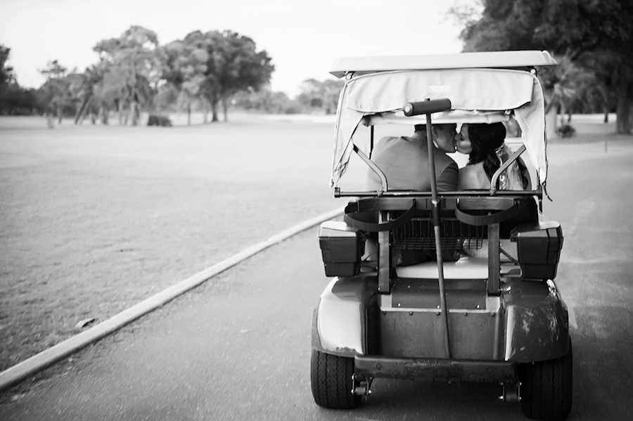 Bride and Groom Driving Golf Cart on Wedding Day | Clearwater Wedding Venue Countryside Country Club