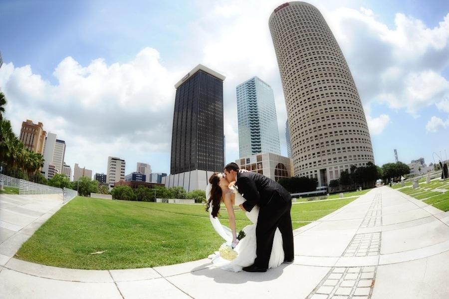 Bride and Groom Wedding Portrait | Downtown Tampa Wedding Park