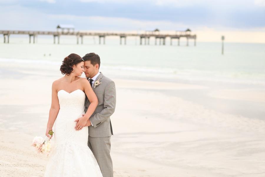 Clearwater Beach Bride and Groom Wedding Portrait