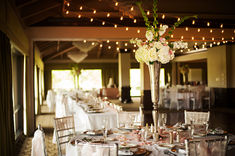 Tall White Floral Centerpieces with Silver Vases | Clearwater Wedding Venue Countryside Country Club
