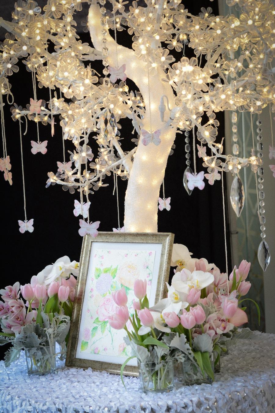 Lighted Wedding Reception Centerpiece with Hanging Butterflies