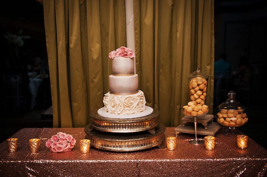 Wedding Reception Dessert Table: Cake with Pink Roses and Donut Bar Station