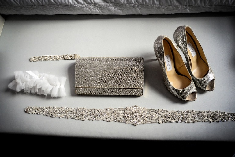 Silver Sparkle Wedding Purse Belt and Jimmy Choo Wedding Shoes
