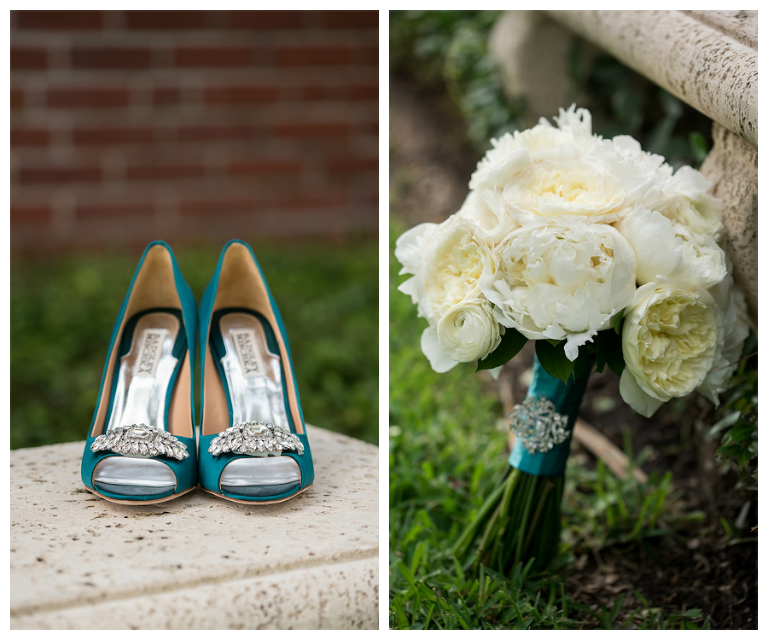 Teal Badgley Mischka Wedding Shoes | White Peonies Wedding Bridal Bouquet