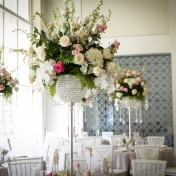 Tall White and Pink Wedding Centerpieces with Rhinestone Crystal Vases | Downtown Tampa Vault Wedding