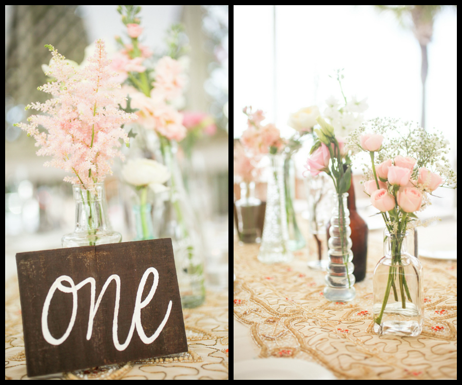 Clearwater Wedding Reception, Blush Pink Wedding Centerpieces with Gold Table Runner Linen Details