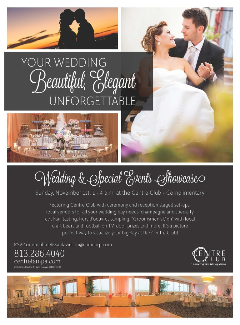 Centre Club Wedding and Special Event Showcase | Tampa Bridal Show, Sunday, November 1, 2015