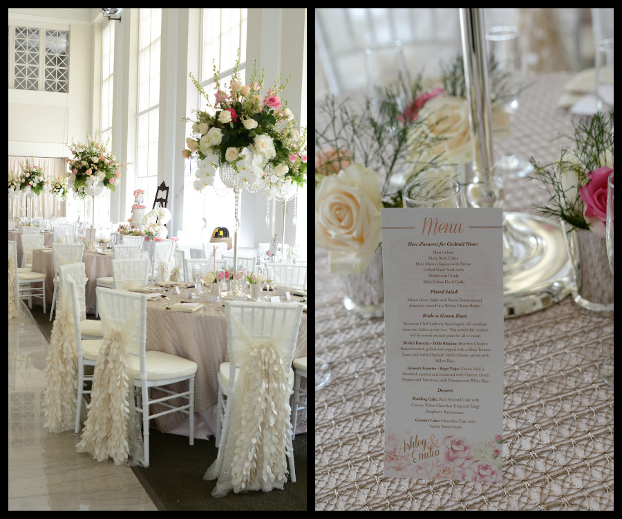 Tall White and Pink Wedding Centerpieces with Rhinestone Crystal Vases and Covered Chiavari Chairs | Downtown Tampa Vault Wedding