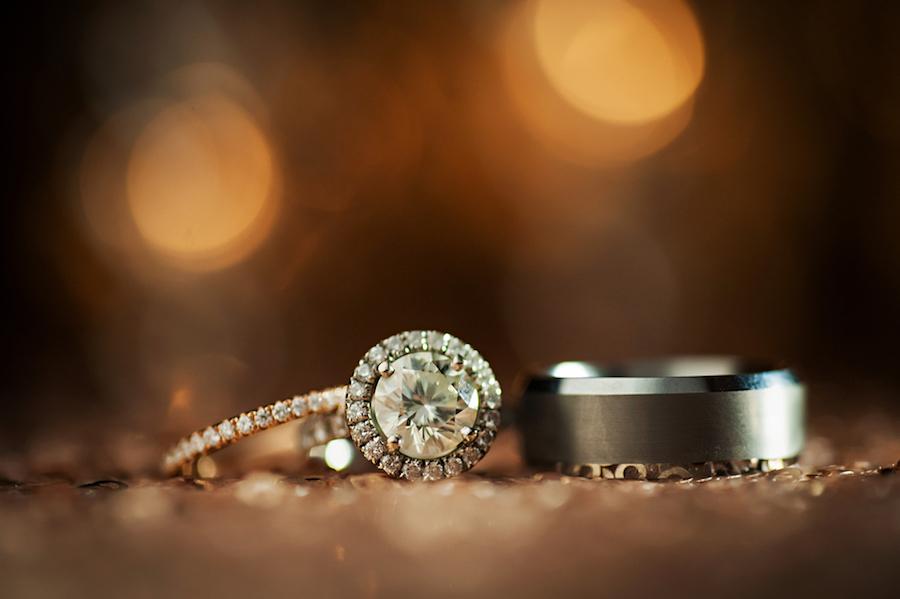 Bride and Groom Wedding Round Halo Diamond Engagement Ring Portrait