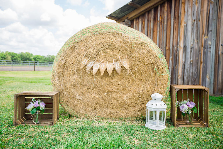 Rustic Plant City Wedding Decor Details with Hay Bale and White Lantern | Wishing Well Barn