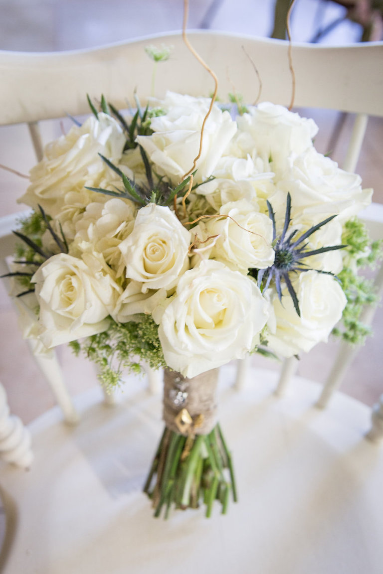White Roses Wedding Floral Bouquet | Rustic Tampa Bay Wedding