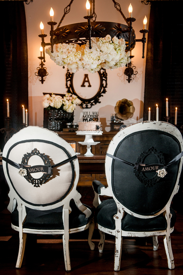 Black and White, Sweetheart Table Chairs with Amour Signs