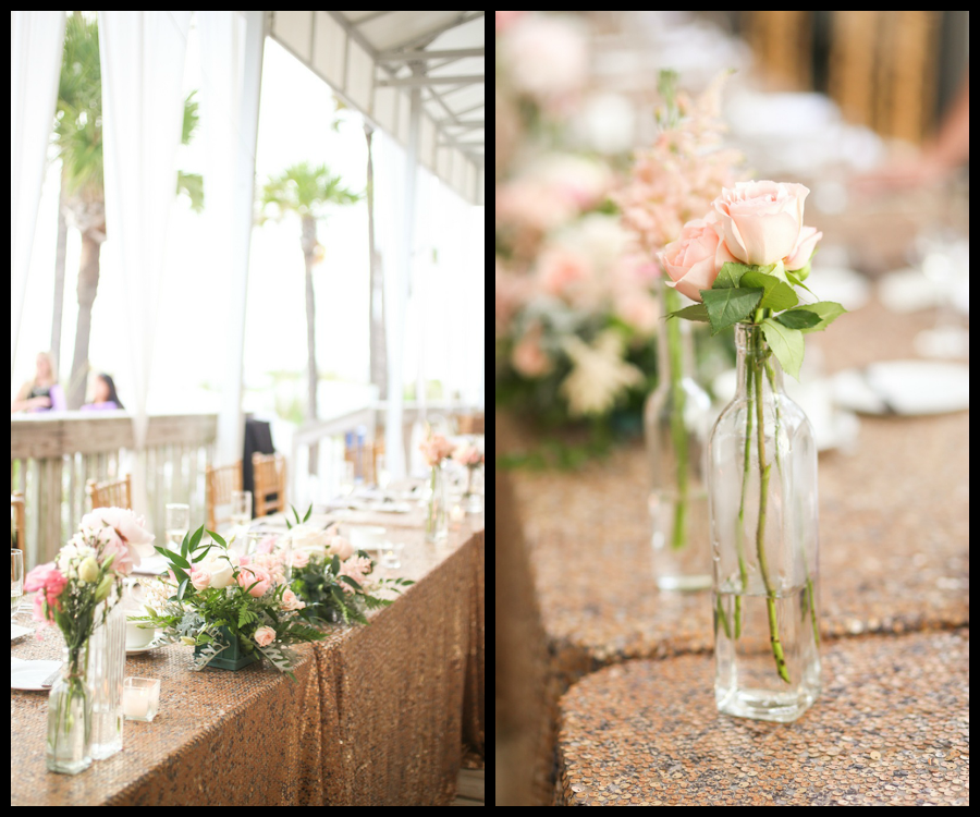 Blush Pink Wedding Centerpieces in Glass Bottle Vases with Sequined Linen
