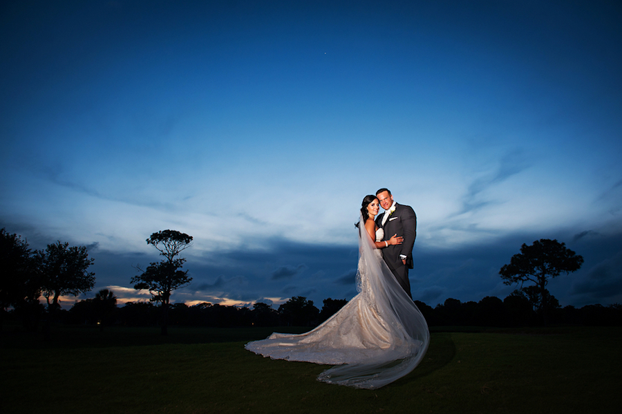 Nighttime, Twilight Bride and Groom Outdoor Golf Course Wedding Portrait | Clearwater Wedding Venue Countryside Country Club