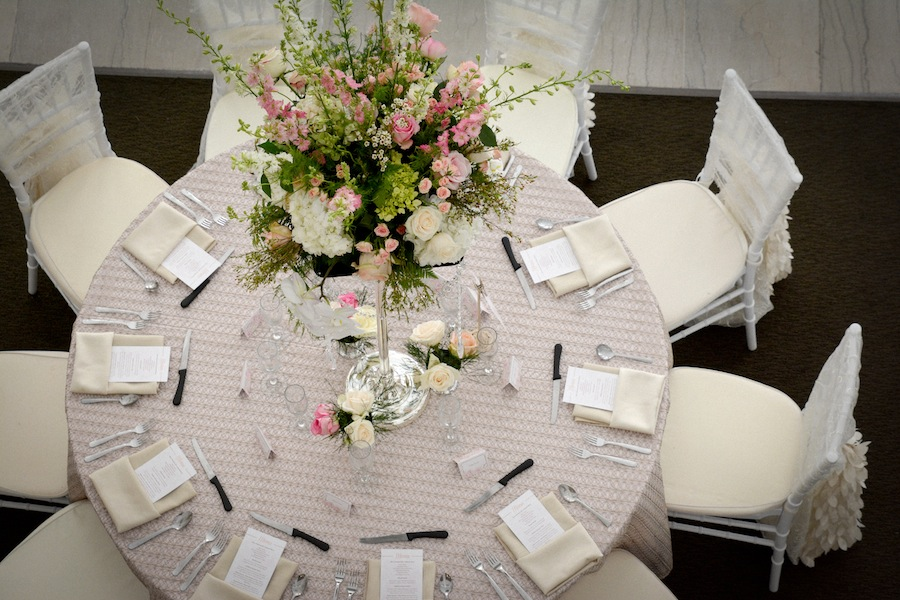 Tall White And Blush Pink Wedding Centerpieces With Rhinestone
