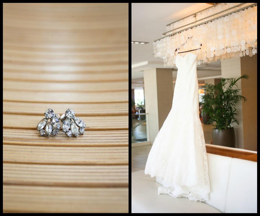 White Sweetheard Wedding Bridal Gown and Jeweled Rhinestone Earrings