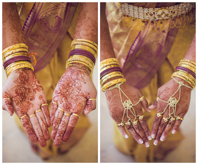 Indian Wedding Bride Henna with Gold Jewelry