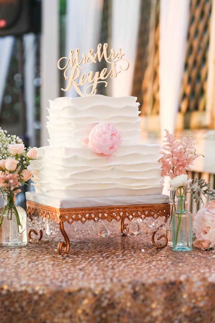 White, Scalloped Square and Round Wedding Cake