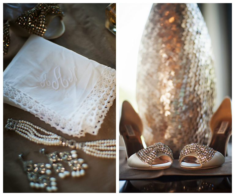 Bridal Wedding Monogrammed Handkerchief with Jewlery and Rhinestone Wedding Shoes