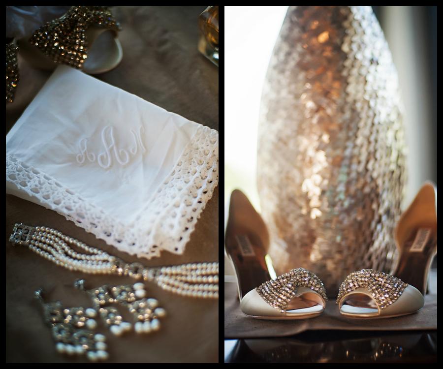 Bridal Wedding Monogrammed Handkerchief with Jewlery and Rhinestone Wedding Shoes