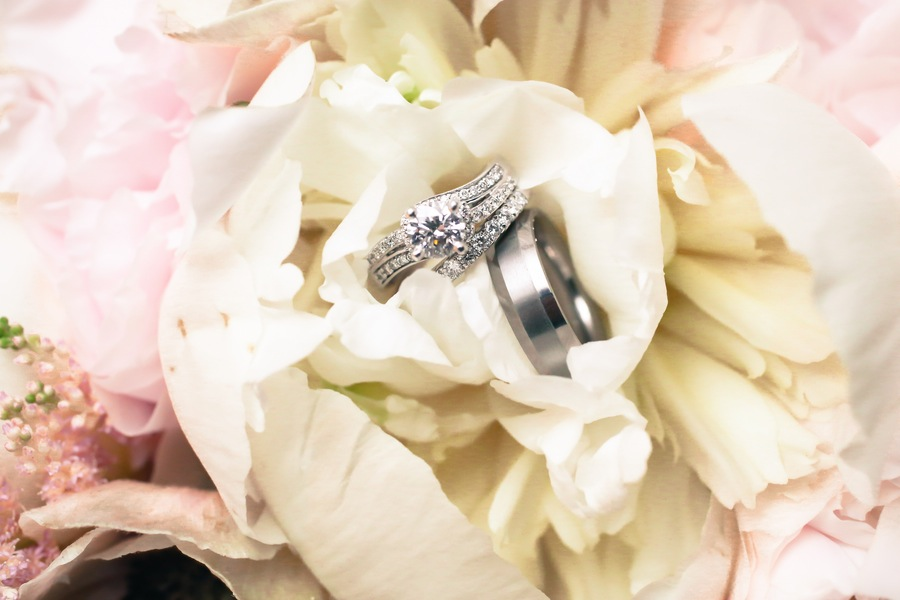 Wedding Ring Portait in Pastel Pink and White Flowers
